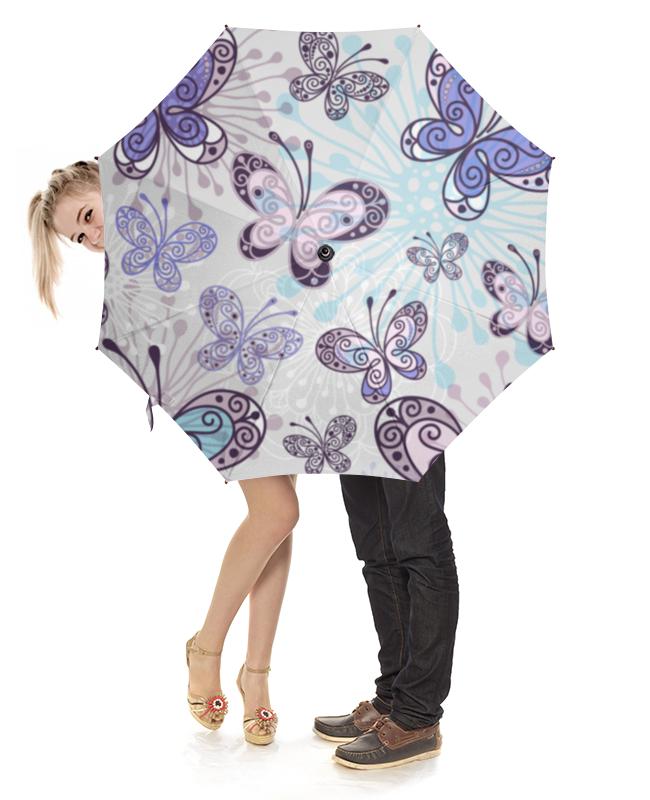 Зонт-трость с деревянной ручкой Printio Фиолетовые