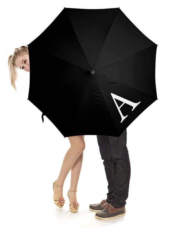 Зонт-трость с деревянной ручкой Printio Монограмма