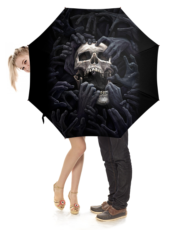 Зонт-трость с деревянной ручкой Printio Skull hands грабли с деревянной ручкой 1500 мм truper r 16m 17880