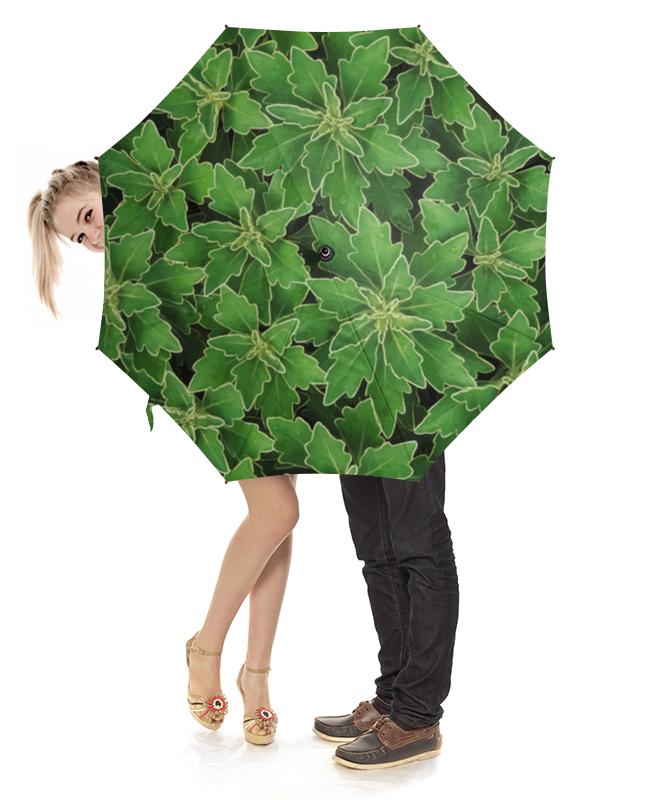 Зонт-трость с деревянной ручкой Printio Зеленые листья цена и фото