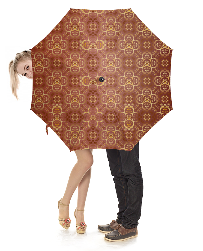 Зонт-трость с деревянной ручкой Printio Узорный узорный покров