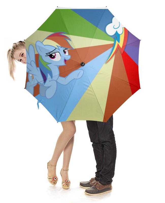 Зонт-трость с деревянной ручкой Printio Rainbow dash color line