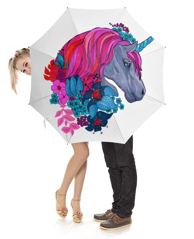 Зонт-трость с деревянной ручкой Printio Единорог с розовыми волосами в цветах