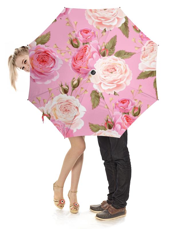Зонт-трость с деревянной ручкой Printio Цветы