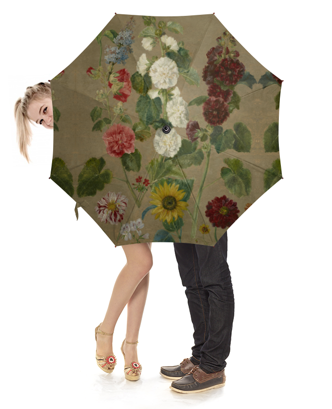 Зонт-трость с деревянной ручкой Printio Цветы (эжен делакруа)