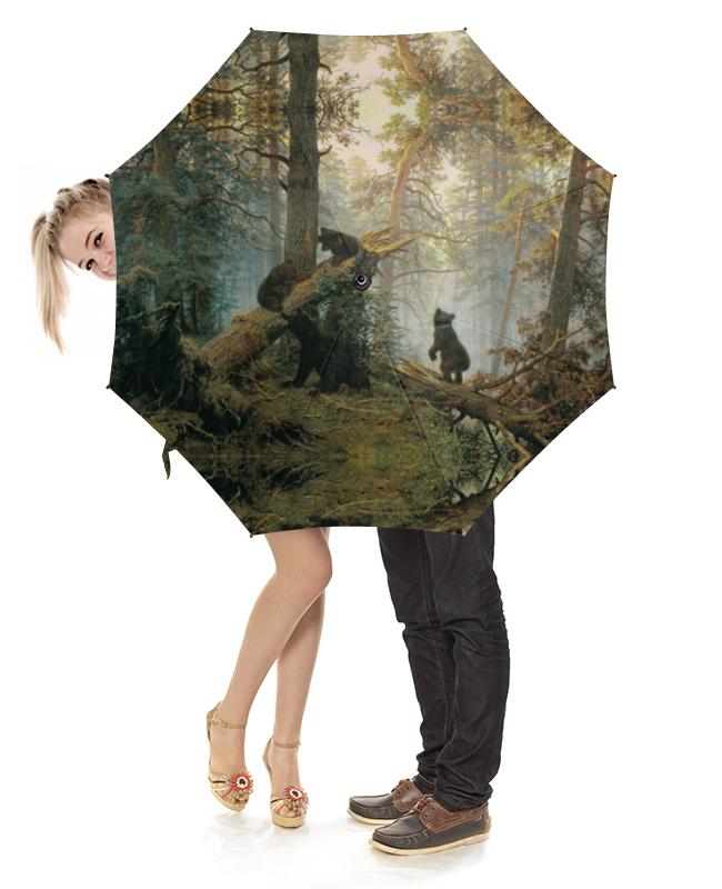 Зонт-трость с деревянной ручкой Printio Утро в сосновом лесу