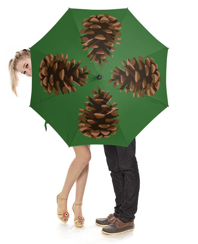 Зонт-трость с деревянной ручкой Printio Шишка