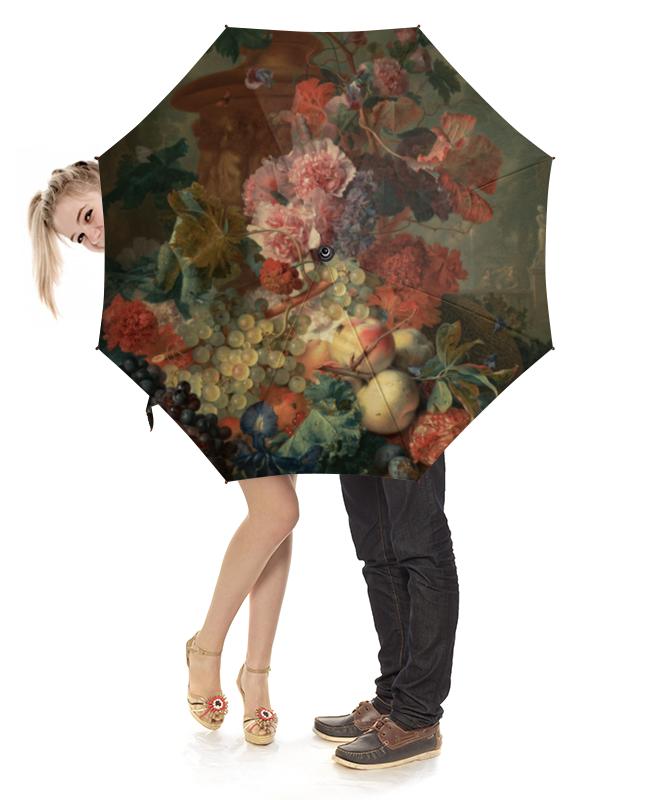 Зонт-трость с деревянной ручкой Printio Цветы (ян ван хёйсум) фартук с полной запечаткой printio цветы ян ван хёйсум