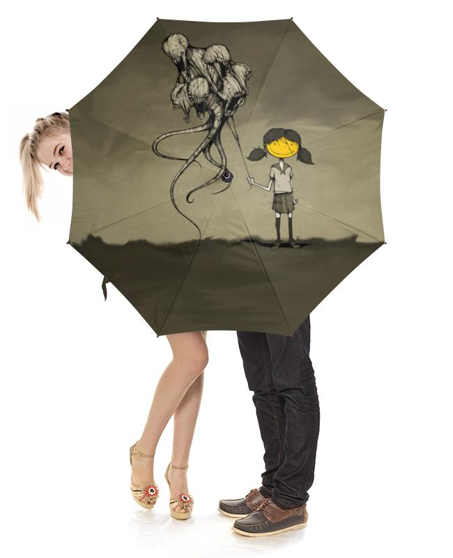Зонт-трость с деревянной ручкой Printio Девочка с шарами стоимость