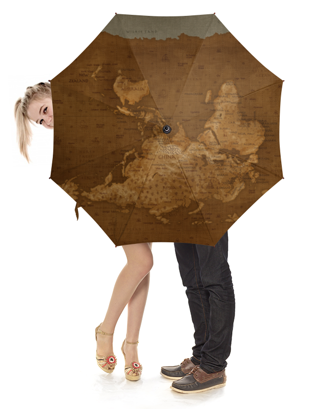 Зонт-трость с деревянной ручкой Printio Карта мира playstation store пополнение бумажника карта оплаты 2500 рублей