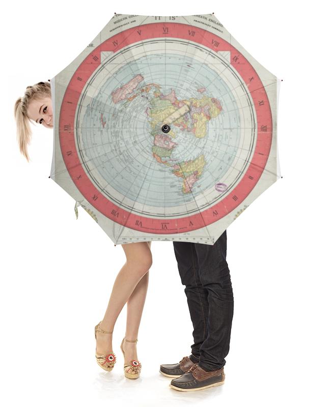 Зонт-трость с деревянной ручкой Printio Карта плоской земли