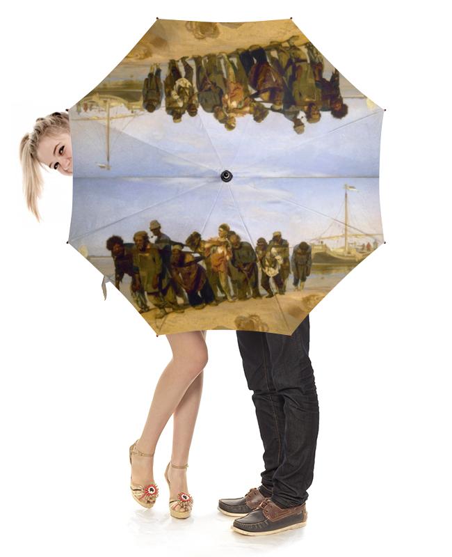 Зонт-трость с деревянной ручкой Printio Бурлаки на волге (илья репин) русские художники илья ефимович репин