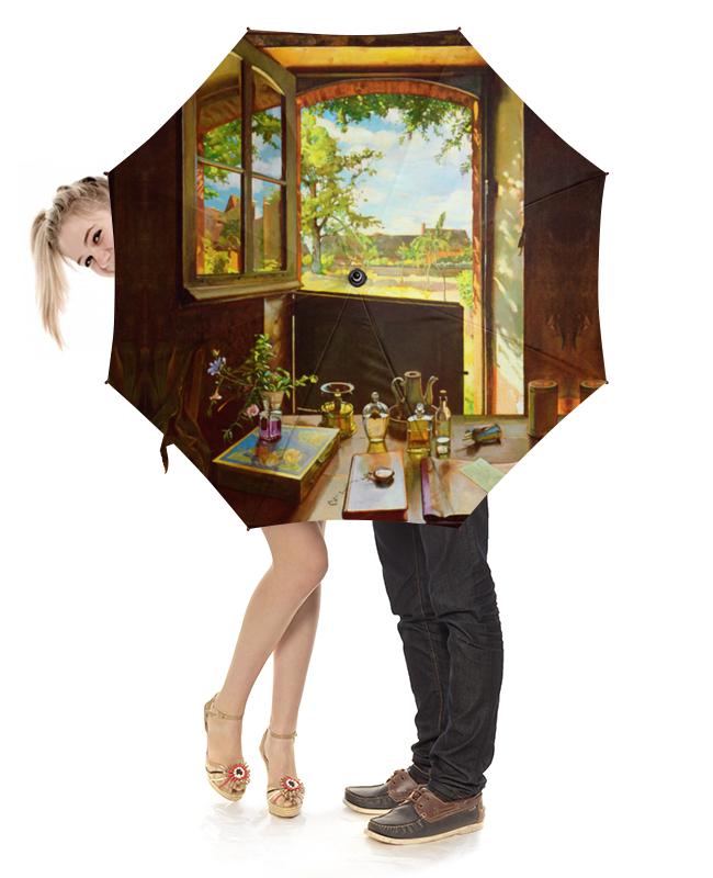 купить Зонт-трость с деревянной ручкой Printio Открытая дверь в сад (картина сомова) по цене 2450 рублей