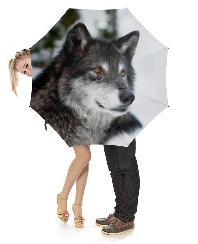 Зонт-трость с деревянной ручкой Printio Серый волк зонт трость с деревянной ручкой printio волк