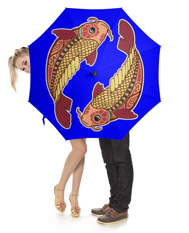 Зонт-трость с деревянной ручкой Printio Рыбы - pisces драже boffo миндаль в малиновом шоколаде 160 г новогодняя коллекция