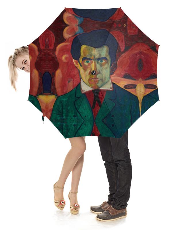 Зонт-трость с деревянной ручкой Printio Казимир малевич, автопортрет