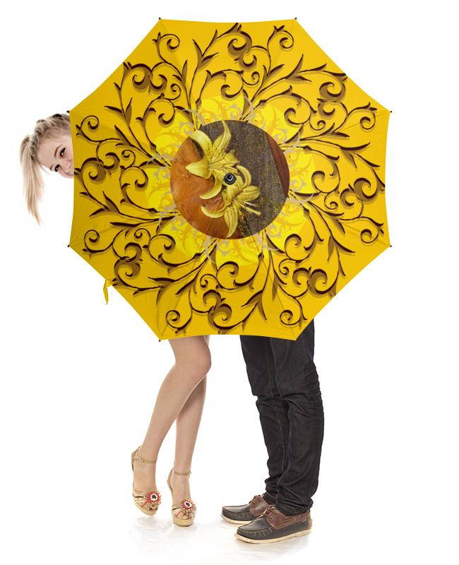 Зонт-трость с деревянной ручкой Printio Солнечная лилия.