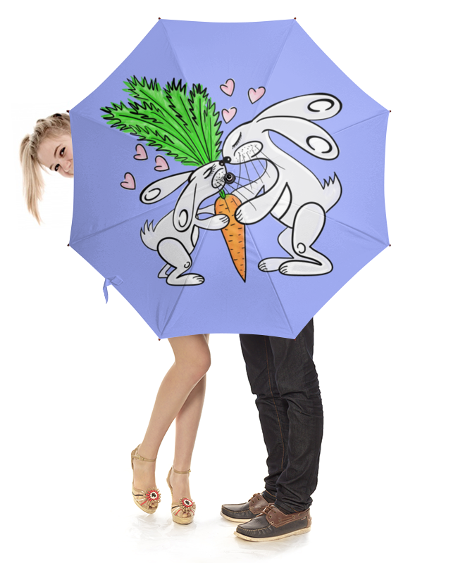 Зонт-трость с деревянной ручкой Printio Зайчишки с морковкой слюнявчик printio кролик с морковкой