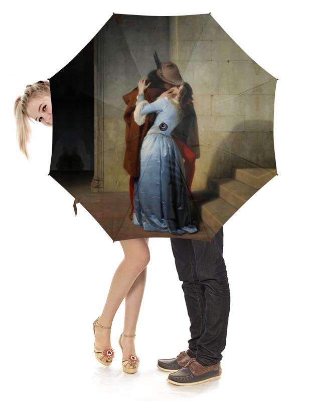 Зонт-трость с деревянной ручкой Printio Поцелуй (франческо айец) тетрадь на скрепке printio поцелуй франческо айец