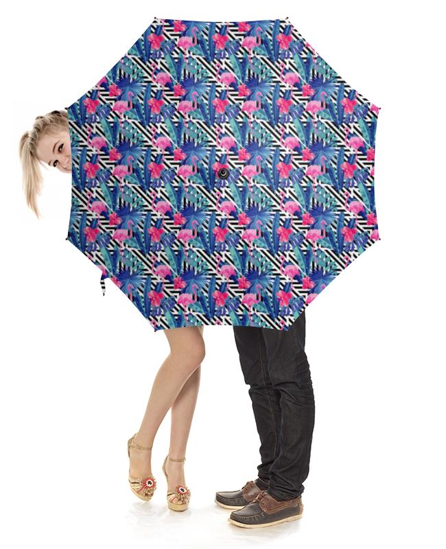 Зонт-трость с деревянной ручкой Printio Психоделические фламинго зонт eleganzza зонт