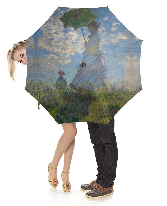 Зонт-трость с деревянной ручкой Printio Дама с зонтиком — мадам моне со своим сыном картина из кожи дама с зонтиком моне коллекция elole interior синий сплошн холст прямоуг рама