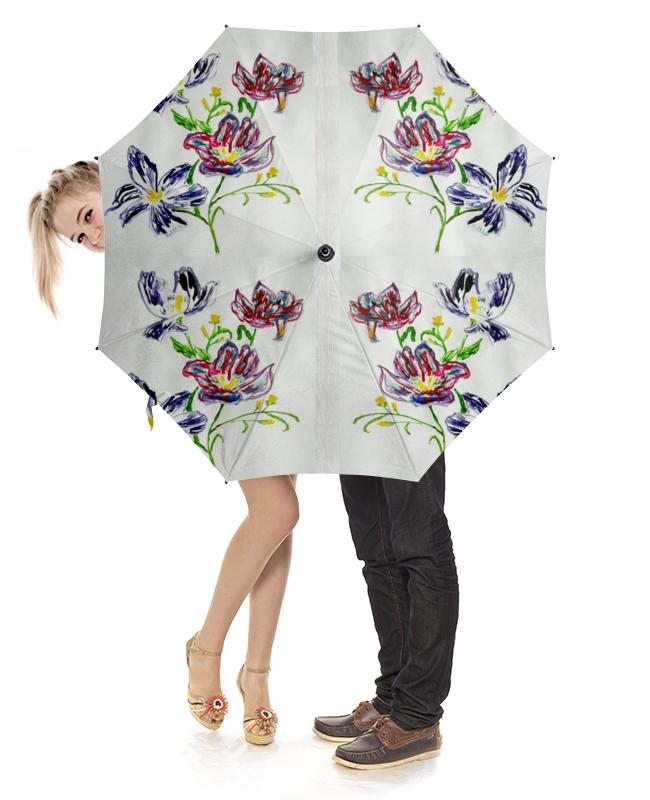 Зонт-трость с деревянной ручкой Printio Лиловые цветы