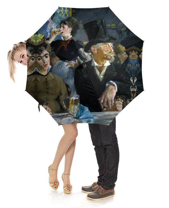 Зонт-трость с деревянной ручкой Printio В кафе (эдуард мане) цена