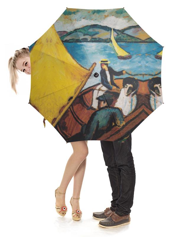 Зонт-трость с деревянной ручкой Printio Парусник в тегернзее (август маке) август мягкая мозаика дерево цвет основы синий