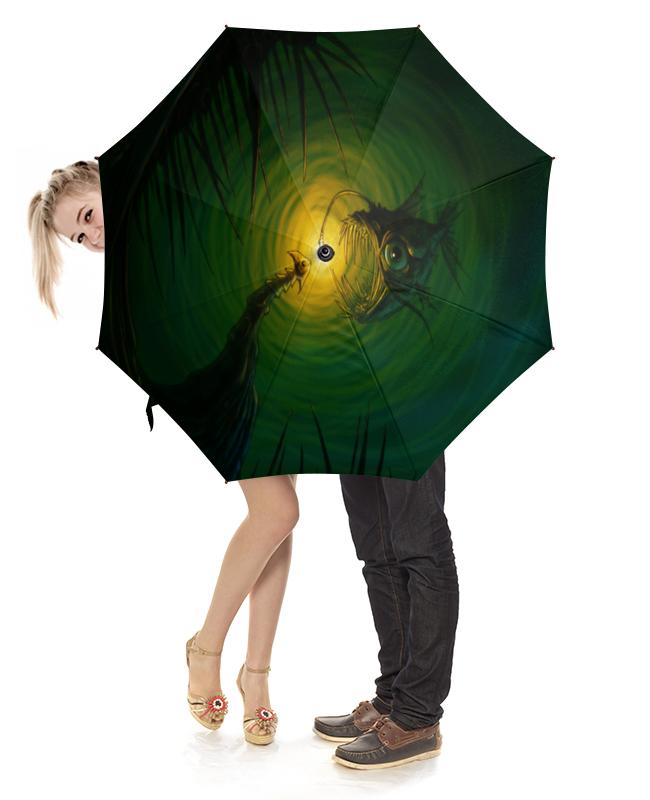 Зонт-трость с деревянной ручкой Printio Глубоководный