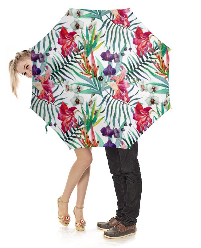Зонт-трость с деревянной ручкой Printio Тропические цветы зонт трость с деревянной ручкой printio цветы орхидеи цветочная фантазия