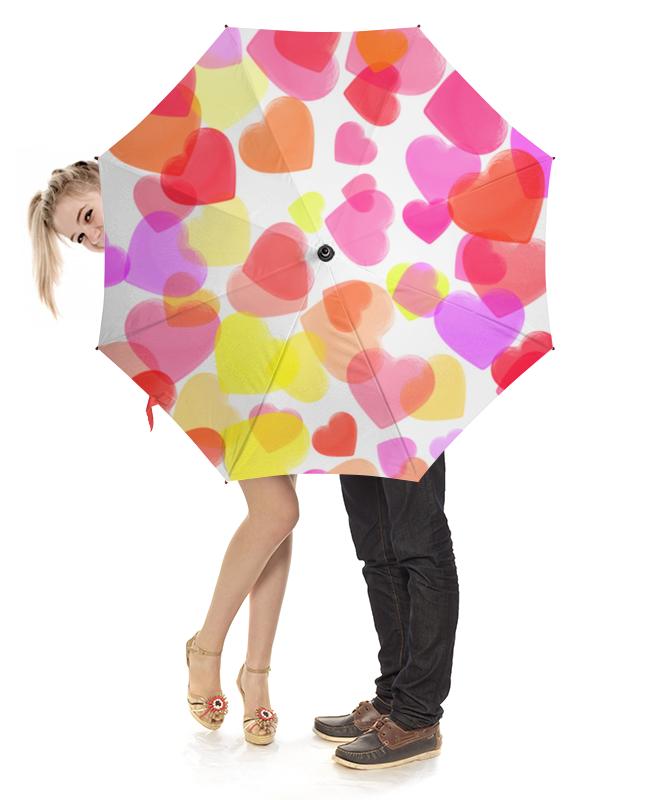 Зонт-трость с деревянной ручкой Printio Водопад из разноцветных сердец цена и фото