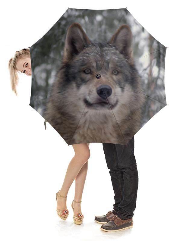 Зонт-трость с деревянной ручкой Printio Волк в лесу чехол для ноутбука 14 printio волк в лесу
