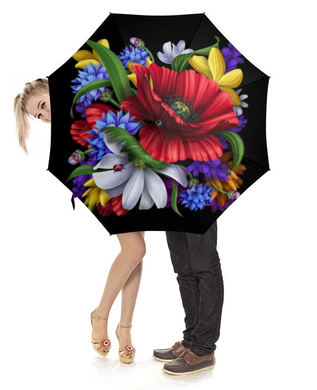 Зонт-трость с деревянной ручкой Printio Композиция цветов композиция из цветов жду свидания