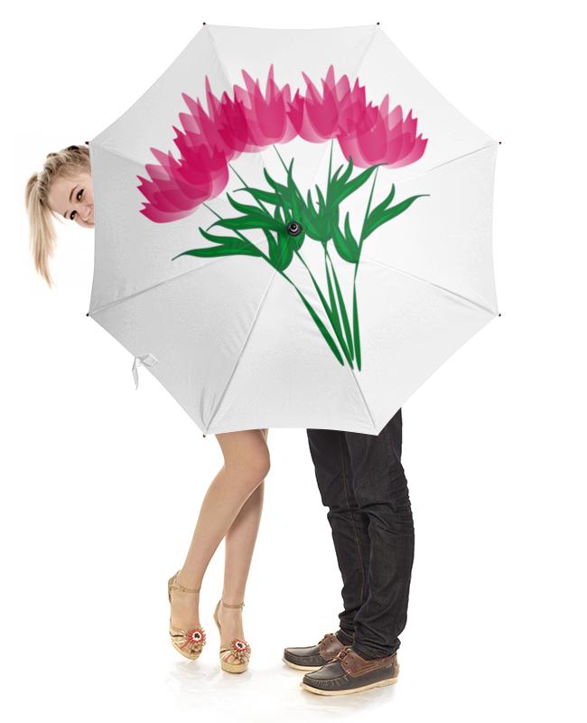 Зонт-трость с деревянной ручкой Printio Розовые абстрактные цветы арт дизайн подарочный набор открытка с ручкой самой фееричной тебе