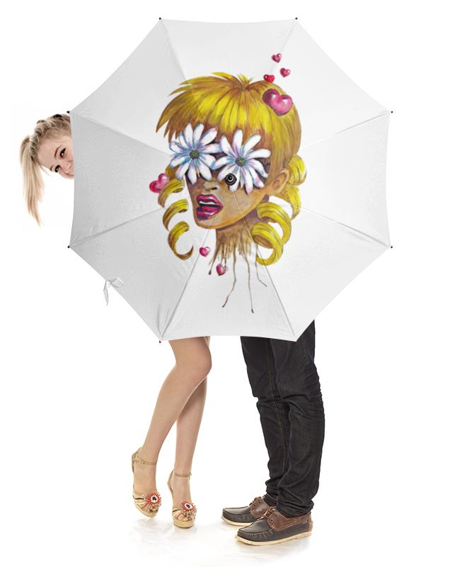 Зонт-трость с деревянной ручкой Printio Без ума от цветов зонт трость с деревянной ручкой printio цветы орхидеи цветочная фантазия
