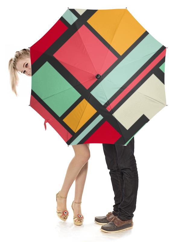 Зонт-трость  деревянной ручкой Printio Разноцветная абстракция