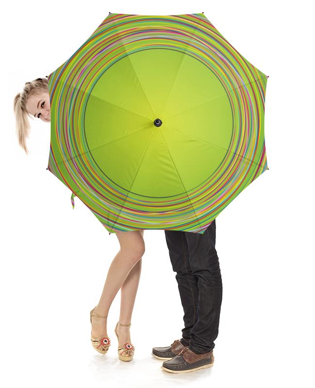 Зонт-трость с деревянной ручкой Printio Разноцветные круги
