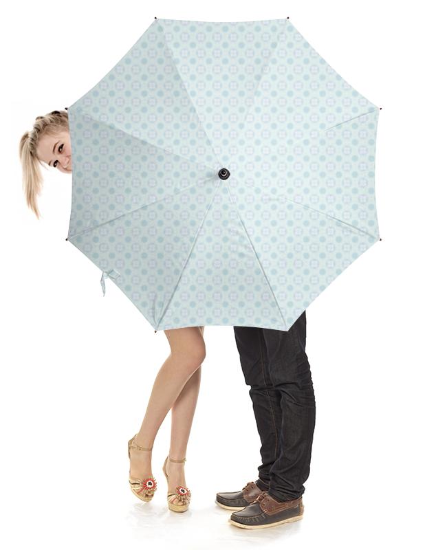 Зонт-трость с деревянной ручкой Printio Голубой узор