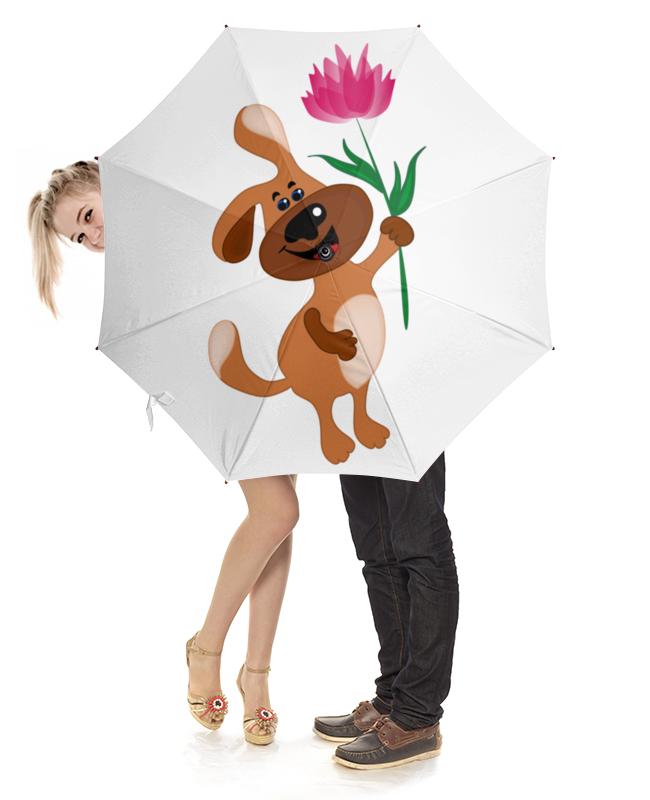 Printio Пес держит в лапе цветочек брошь влюбленный пес