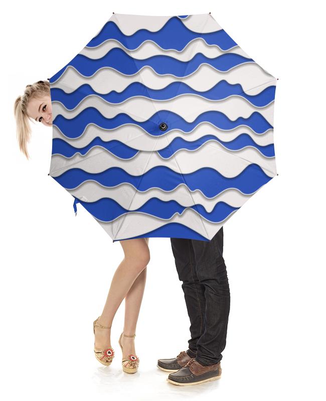 Зонт-трость с деревянной ручкой Printio Абстрактные волны зонт трость с деревянной ручкой printio зонт трость волны