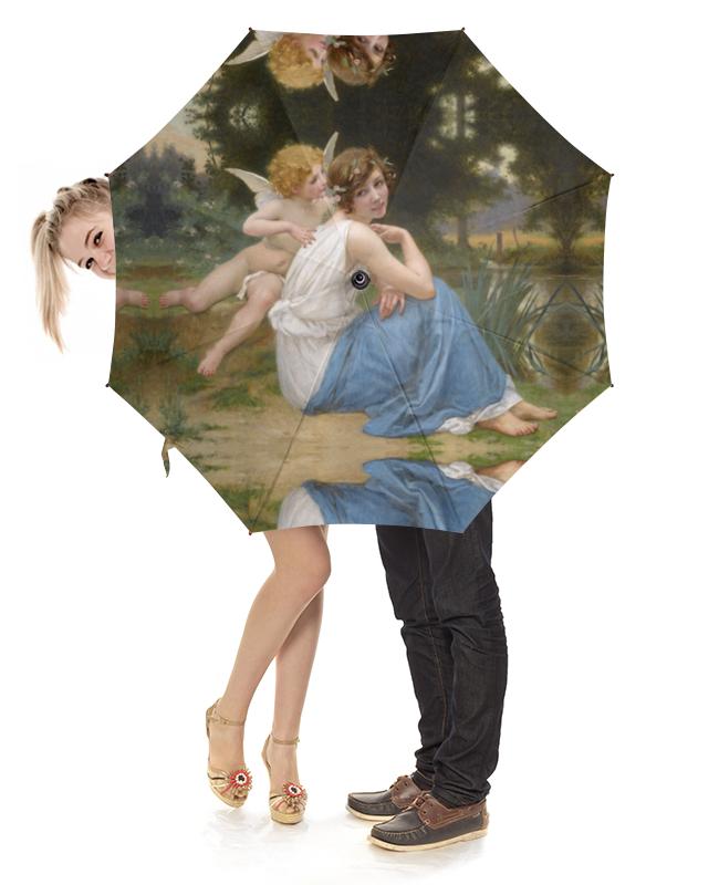 Зонт-трость с деревянной ручкой Printio Купидон и психея (гийом синьяк) цена