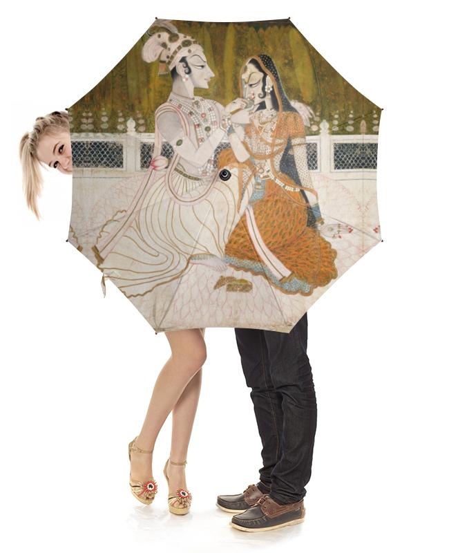 Зонт-трость с деревянной ручкой Printio Кришна и радха (раджпутская живопись) цена