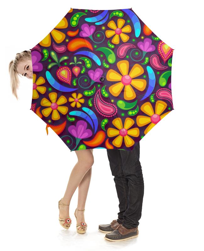 Зонт-трость с деревянной ручкой Printio Цветочное настроение