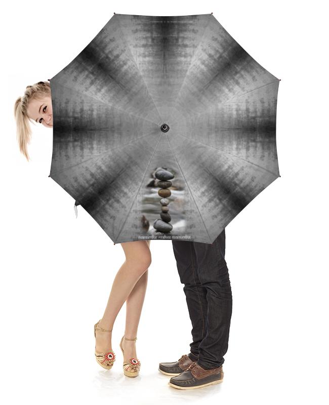 Зонт-трость с деревянной ручкой Printio Каменные пирамидки. спокойствие... #2