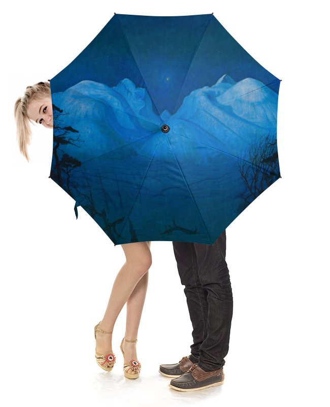 Зонт-трость с деревянной ручкой Printio Зимняя ночь в рондане (харальд оскар сольберг) платье женское зимняя ночь