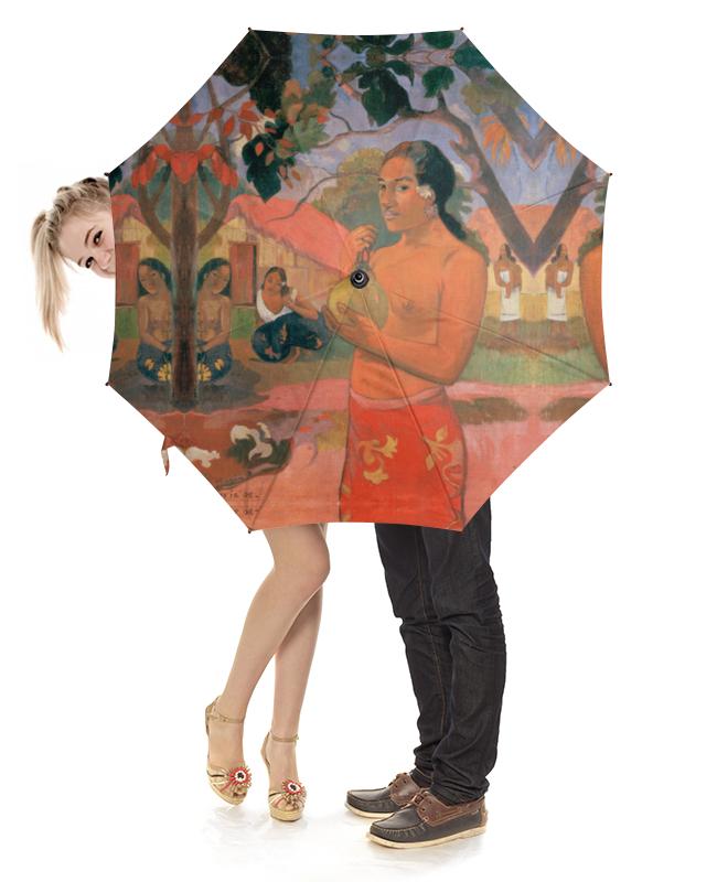 Зонт-трость с деревянной ручкой Printio Женщина, держащая плод (поль гоген) рюкзак с полной запечаткой printio женщина держащая плод поль гоген