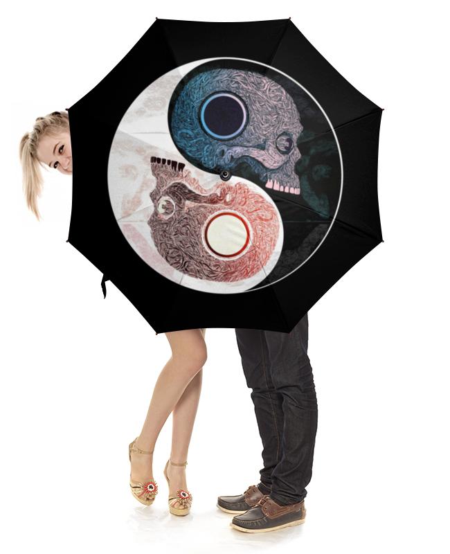 Зонт-трость с деревянной ручкой Printio Инь и янь