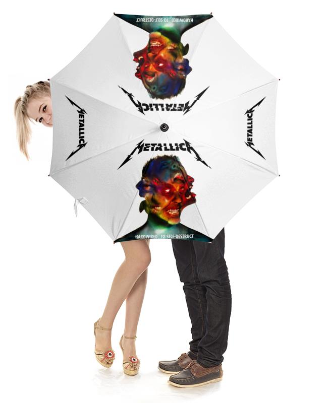 Зонт-трость с деревянной ручкой Printio Metallica modern calligraphy