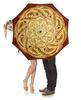 """Зонт-трость с деревянной ручкой """"Золотая мандала"""" - узор, мандала, этнический, индийский, мехенди"""