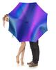 """Зонт-трость с деревянной ручкой """"пурпур опять"""" - синий, пурпурный, в клеточку"""